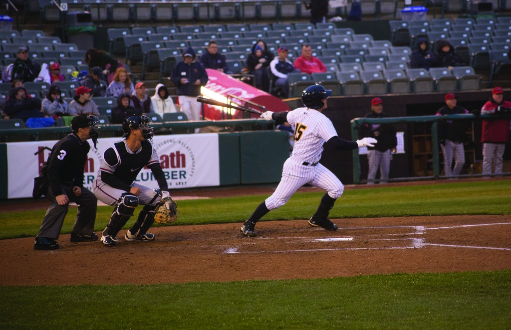 Trenton Thunder catcher, JR Murphy swings at a pitch from RIchmond Flying Squirrel Justin Valdez during the first inning of the April 12, 2013 game at Arm and Hammer Park. Photo by Sam Foster.