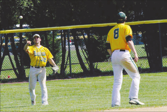 Sophmore Mark Tomei tosses the ball to shortstop Heath Fillmyer who will spend more time on the mound this season. File photo.